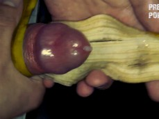Masturbating with banana peel and cumming on it