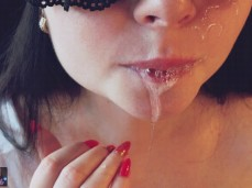 Playing with cum in my mouth